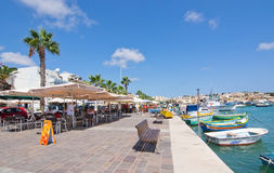 Seaside restaurant Marsaxlokk Stock Photography
