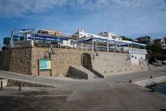 Seaside restaurant. SANT ELM, MAJORCA, SPAIN - OCTOBER 30 2013: Seaside restaurant on October 30 2013 in Sant Elm, San Telmo, Mallorca, Balearic islands, Spain Stock Photo