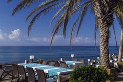 Seaside restaurant, Side, Turkey. Tables at seaside Restaurant, Side, Turkey Royalty Free Stock Photo