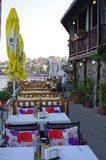 Tables in a seaside restaurant. Seaside Restaurant in Sozopol on the southern Bulgarian Black Sea Coast Stock Images