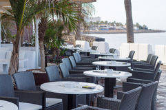 Seaside restaurant terrace at resort area Stock Photos