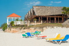 Seaside restaurant on Varadero beach in Cuba Stock Photos