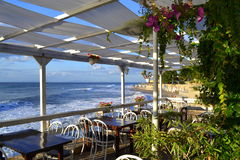 Seaside restaurant view Royalty Free Stock Photo