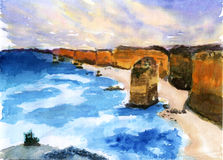 Seaside rock watercolor illustration. On paper Stock Images