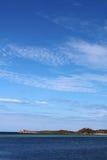 Seaside at Rockingham 1. Seaside at Rockingham, Perth, Western Australia, with blue sea, blue sky, and a far away island Stock Photo