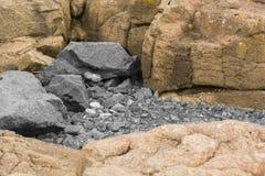 Seaside Rocks. Brown and grey coloured seaside Rocks at Portrush Co.Antrim N.Ireland royalty free stock photos