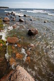 Seaside with rocks and waves Stock Image