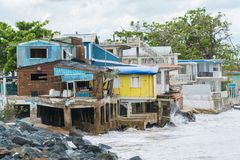 Hurricane Maria Damage in Puerto Rico. Seaside scene in Rincon, Puerto Rico after Hurricane Marie showing damage to businesses Royalty Free Stock Photos