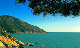 Seaside scenery. The coastal city, the vast sea, the blue water of the sea, protuberant rocks, green mountains, lop pine needles, charming scenery Royalty Free Stock Photos