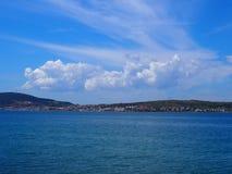 Seaside scenery Cunda island. Charming seaside scenery at the port of Cunda island in Turkey royalty free stock photos