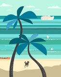 Seaside scenic veiw poster. Summer seaside landscape. Blue ocean scenic view. Hand drawn tropica island escape poster. Holiday vacation season sea travel leisure stock illustration
