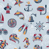 Seaside seamless pattern. Seaside vector seamless pattern with nautical design elements royalty free illustration