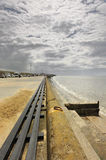 Seaside seating, Blackpool. A continuous seaside seating area that sits on top of the coastal sea wall at Cleveleys near Blackpool stock photos