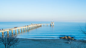 The seaside shore and the bridge of the city Burgas in Bulgaria Royalty Free Stock Images