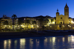 Seaside of Sitges in early morning Stock Photo