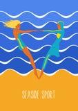 Seaside sport illustration in art deco style. Swimwear and burkini. Illustration of european and Muslim fashion Royalty Free Stock Image