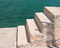 Seaside stairs. And green ocean water, Mallorca, Balearic islands, Spain Stock Photography