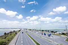 Seaside straight roadway Royalty Free Stock Photography