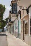 The seaside street in Mallorca. Street near with Mediterranean sea in Portocristo, Majorca, Spain Stock Photos