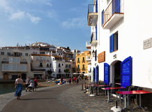 Seaside street of  mediterranean town. Cadaques Royalty Free Stock Photos