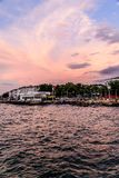 Seaside Streets Of Cinarcik Town In Summer Sunset - Turkey Stock Photo