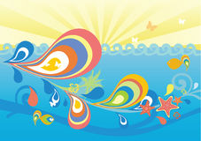 Seaside summer background. Colorful marine background with fish, flower, splash, wave, palm Royalty Free Stock Photos