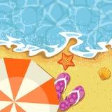 Seaside summer vacation - send and wave. Seaside summer vacation - parasol, send and wave stock illustration
