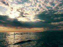 Seaside. Sunset  on the sea  in Viareggio Tuscany Stock Photos