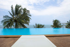 Seaside swimming pool on the roof Royalty Free Stock Photos