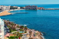 Seaside of Torrevieja city. Royalty Free Stock Photo