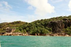 Seaside tour of the Seychelles. Seychelles, somewhere in the Indian Ocean stock image