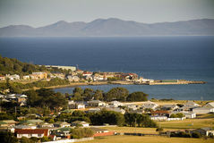 Seaside Town. A sundown view of Stanley, Tasmania, Australia and its seaside setting royalty free stock image
