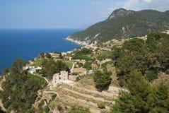 Seaside town. Panoramic view on seaside town, Mallorca, Spain royalty free stock photo