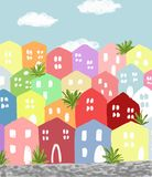 Seaside town. Slightly careless and childish picture of painted houses in seaside town Royalty Free Stock Photo