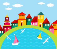 Seaside Town. Cartoon illustration of small cosy port town. Abstract street with homes and water scene. Colorful houses on the waterfront. Port town. Seaside Royalty Free Stock Photos