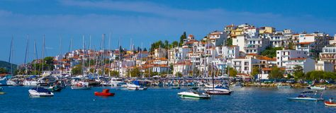 Seaside town with harbor Stock Photography