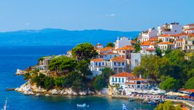 Seaside town. With harbour and mountain in the background royalty free stock photos