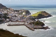 Ilfracombe Town from a High Viewpoint. Seaside town of Ilfracombe in North Devon, England. Viewed from high cliffs on the South West coast path stock photography