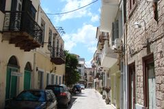 Seaside town of Kalambaka in southern Greece in the summer of 2014. Panorama of the central part and the clean sunny streets of th Stock Photo