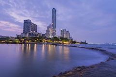 The seaside town. And landscape lighting and a beautiful beach at Pattaya Royalty Free Stock Photography