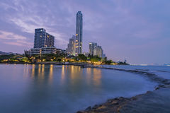 The seaside town. And landscape lighting and a beautiful beach at Pattaya Stock Image