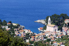 Seaside town. Little town by the Adriatic sea Stock Images