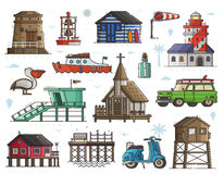 Seaside Town Maritime Set. Travel seaside town constructor with typical sea coast and fishing village elements. Lighthouse, marine church, baywatch, scooter Royalty Free Stock Photos