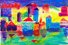 Seaside town painting by Kay Gale Royalty Free Stock Photography