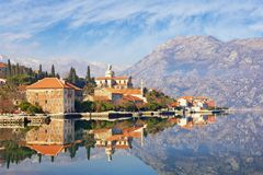 Seaside town of Prcanj in winter. Bay of Kotor Adriatic Sea, Montenegro Stock Images