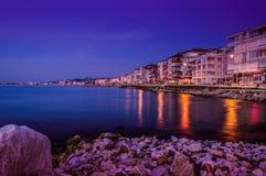 Seaside Town Skyline Stock Photo