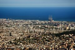 Top view from mountain to city by Mediterranean sea. Seaside town. Top view from mountain to city by Mediterranean sea stock images