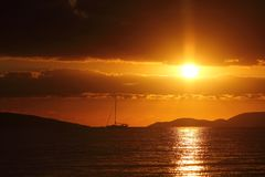 Seaside town of Turgutreis. And spectacular sunsets royalty free stock photos