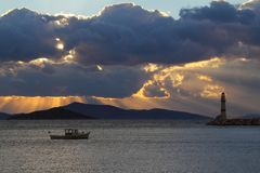 Seaside town of Turgutreis. And spectacular sunsets stock photo
