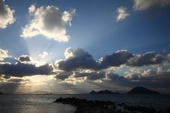 A small seaside town Turgutreis. Seaside Town Of Turgutreis And Spectacular Sunsets in Turkey royalty free stock image